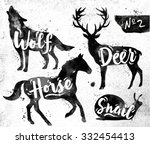 Stock vector silhouettes of animal deer horse snail wolf drawing black paint on background of dirty paper 332454413