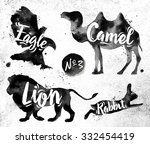 Stock vector silhouettes of animal camel eagle lion rabbit drawing black paint on background of dirty paper 332454419