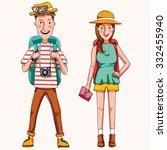 couple of tourist .travel.... | Shutterstock .eps vector #332455940