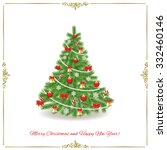 christmas tree. traditionally... | Shutterstock .eps vector #332460146