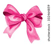 Pink Gift Bow. Watercolor...