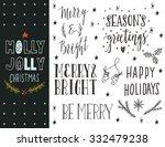 holly jolly. hand drawn... | Shutterstock .eps vector #332479238