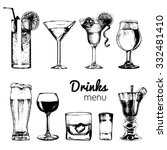 cocktails  drinks and glasses... | Shutterstock .eps vector #332481410