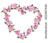 pink floral heart shape wreath... | Shutterstock .eps vector #332487434