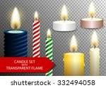 Candle Flame Set On Transparen...