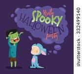spooky kids halloween party.... | Shutterstock .eps vector #332499140