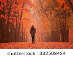 Lonely Woman Walking In Park O...