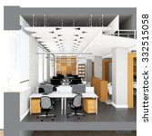 cross section of the office... | Shutterstock . vector #332515058