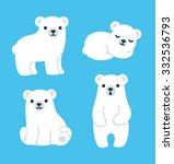 cute cartoon polar bear cubs... | Shutterstock .eps vector #332536793