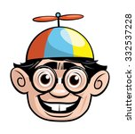 nerd face with a propeller hat | Shutterstock .eps vector #332537228