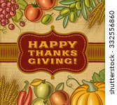 vintage happy thanksgiving card | Shutterstock . vector #332556860