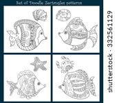 set of 4 doodle patterns | Shutterstock .eps vector #332561129