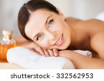 beauty and spa concept   happy... | Shutterstock . vector #332562953