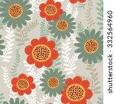cute floral seamless pattern... | Shutterstock .eps vector #332564960
