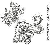 henna tattoo flower template... | Shutterstock .eps vector #332575394