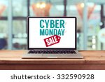 cyber monday sign on laptop... | Shutterstock . vector #332590928