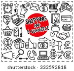 doodle shopping and e commerce...   Shutterstock .eps vector #332592818
