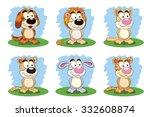 set of six funny cartoon...   Shutterstock .eps vector #332608874
