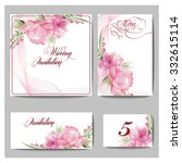 wedding invitation cards  with... | Shutterstock .eps vector #332615114