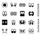 vector cartoon eyes icon set on ...