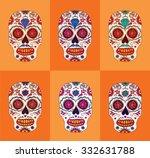 day of the dead sugar skulls... | Shutterstock .eps vector #332631788