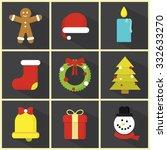 christmas   flat icon set  ... | Shutterstock .eps vector #332633270