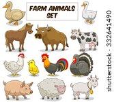 cartoon funny farm animals... | Shutterstock .eps vector #332641490