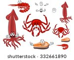 fresh cartoon red crab  shrimp  ... | Shutterstock .eps vector #332661890