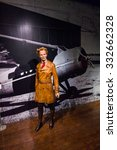 Small photo of NEW YORK, USA - SEP 22, 2015: Amelia Earhart in the Madame Tussaud wax museum, TImes Square, New York City. Marie Tussaud was born as Marie Grosholtz in 1761