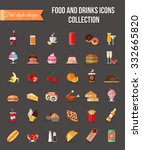 set of colorful food and drinks ... | Shutterstock . vector #332665820