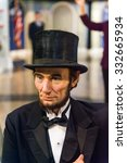 Small photo of NEW YORK, USA - SEP 22, 2015: Abraham Lincoln in Madame Tussaud wax museum, TImes Square, New York City. Marie Tussaud was born as Marie Grosholtz in 1761