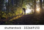 Stock photo man bending down to pet his black dog as they enjoy a beautiful nature in a glade in the woods 332669153