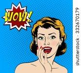 beautiful surprised woman in... | Shutterstock .eps vector #332670179