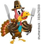 thanksgiving cartoon turkey...   Shutterstock .eps vector #332670203