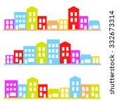 town silhouette set vector... | Shutterstock .eps vector #332673314