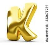 3d blue metal letter k isolated ... | Shutterstock . vector #332675294