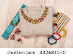 winter sweater and accessories... | Shutterstock . vector #332681570