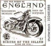 motorcycle tee shirt graphics | Shutterstock .eps vector #332681888