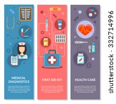three medical vertical banners... | Shutterstock .eps vector #332714996