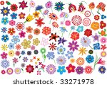 Set Of Colorful Vector Floral...
