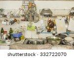 untidy kitchenware in the... | Shutterstock . vector #332722070