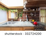 rustic kitchen in a bright... | Shutterstock . vector #332724200