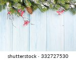 christmas wooden background... | Shutterstock . vector #332727530