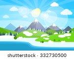 winter mountain river landscape ... | Shutterstock .eps vector #332730500
