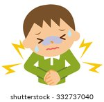 abdominal pain child | Shutterstock .eps vector #332737040