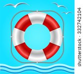 rescue circle for help in water.... | Shutterstock .eps vector #332742104
