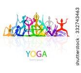 illustration of yoga poses... | Shutterstock . vector #332743463
