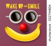 wake up and smile  motivation... | Shutterstock .eps vector #332744804