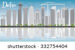 Stock vector doha skyline with grey skyscrapers and blue sky vector illustration business and tourism concept 332754404