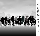 silhouettes of refugees people... | Shutterstock .eps vector #332780210